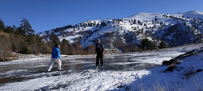 Ice skating on a frozen lake in Grevena area, Greece!