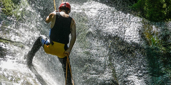 Canyoning in Calypso gorge, near Mt. Olympus